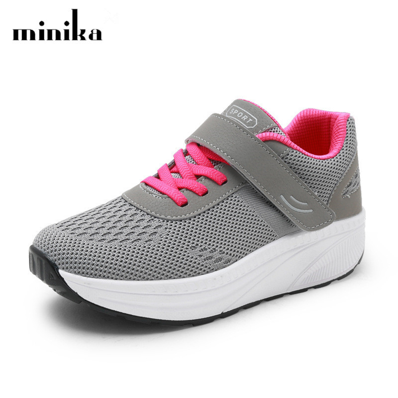 New Casual Shoes Woman Fashion Breathable Mesh Magic Mother Wedges Platform Shoes Trainers Women Sneakers zapatillas