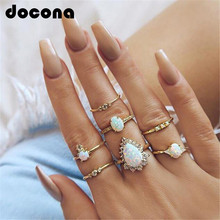 docona Classic Gold Color Horns Water Drop Rhinestone Rings Set for Women Geometric Midi Rings Set Party Jewelry 6623 rhinestone alloy triangle jewelry set rings