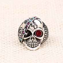 Hyperbole Gothic Stainless Steel Skull Rings for Men Women Trendy Silver Rhinestone Punk Knuckle Ring Pierscionki trendy cross rhinestone decorated ring for women