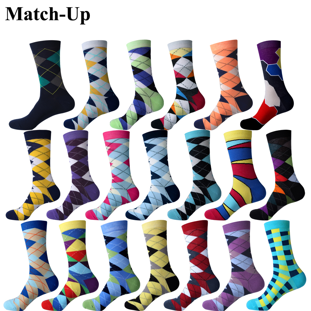 Match-Up Colorful ARGYLE SOCK fun men's Cotton Socks Wedding Gift