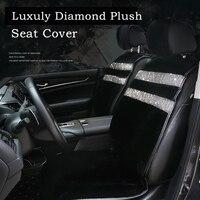 Winter Luxury Crystals Plush Universal Car Seat Covers for Women Diamond Rhinestone Seat Pad Winter Plush Car Pad Seat Cover