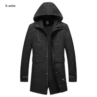 E Artist Men S Casual Hooded Long Camouflage Trench Coats Male Spring Autumn Outwear Overcoats Zipper