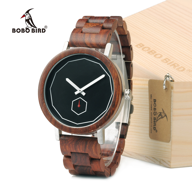 BOBO BIRD M29 Red Sandalwood Wooden Quartz Watch For Men With All Wood Band As Gift Customized natural hand made classic red wooden men quartz watch bracelet clase full wood band simple scale dial cool gift reloj masculino