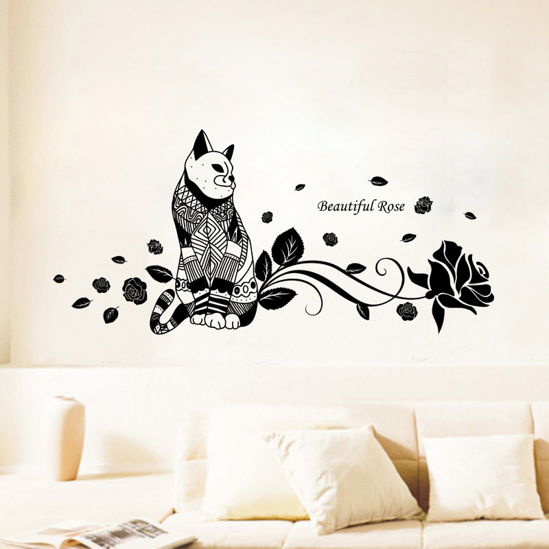 Cute Cat Fashion Wall Stickers Funny Cat Stickers Living ...
