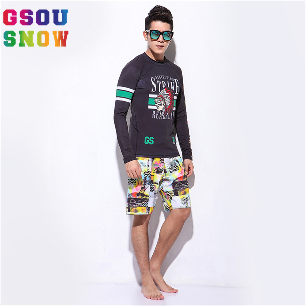 Gsou Snow Summer Beach Rash Guard Men Two-piece Diving Suit Wetsuit Long Sleeve Quick Dry Sunblock Diving Maillot De Bain Homme  gsou snow brand 2017 men beach shorts quick dry summer board shorts swimming surfing diving motorboat shorts maillot de bain