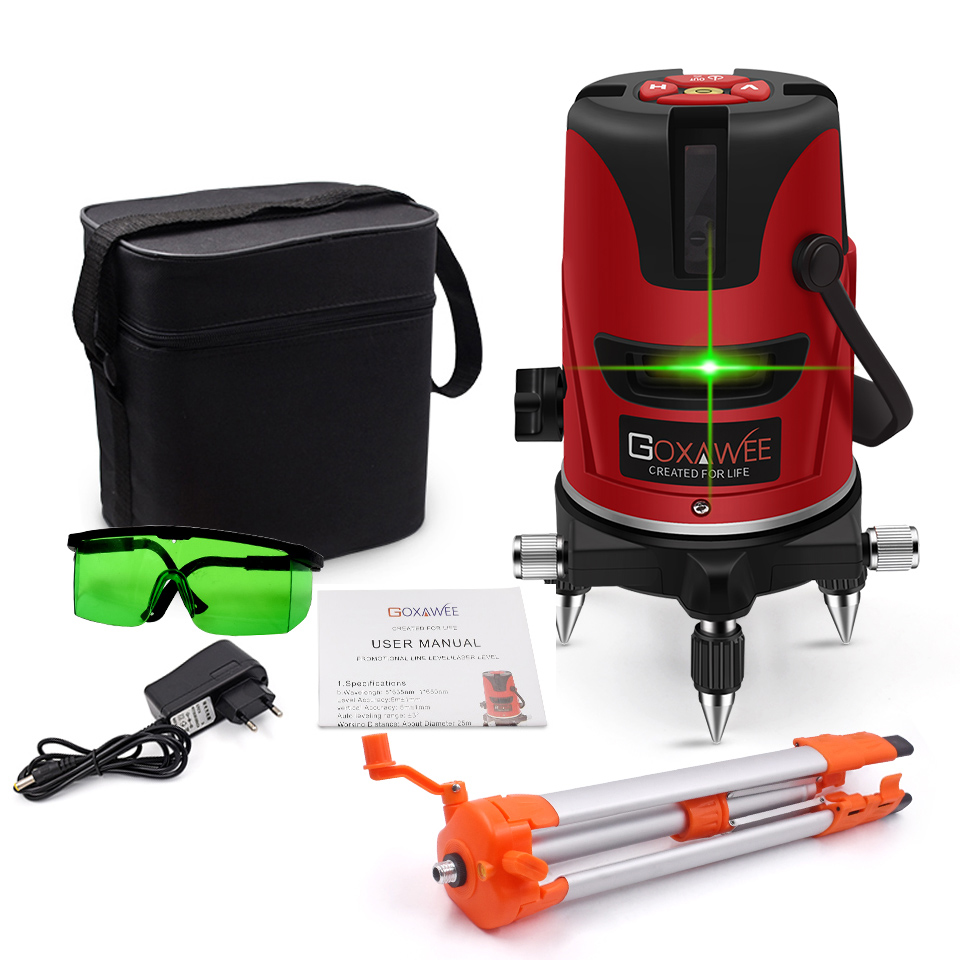 GOXAWEE 5 Laser Line 6 Points 360 Degree Green Laser Level Construction Tools Vertical Horizontal Rotary Cross 3D Laser Level