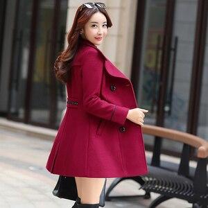 Image 2 - FTLZZ abrigo largo y cálido de mezcla de lana para mujer, chaqueta de talla grande ajustada con solapa, abrigo de lana de cachemira para Otoño e Invierno