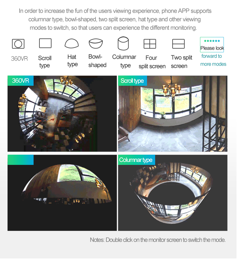 panoramic bulb light ip camera VR 360
