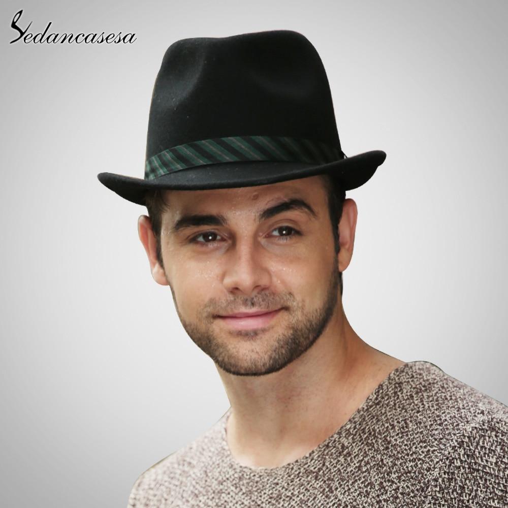 Sedancasesa New Men Fedora Hat 100% Australian Wool Material Trilby Hats  for Male Formal Hat Wool Felt Hat FM027051 ef0ca950b1d