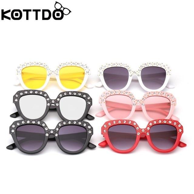 c4945bce548 KOTTDO kids sunglasses rhinestone round glasses mirror cat eye sunglasses  boys girls sun glasses children oculos