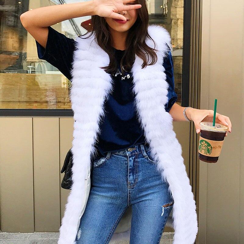 Renard Longue 2018 White Vêtements Gilets Hiver Mince Chaud Manteau Gilet Réel Femme Zl600 Fourrure Femmes Manteaux Veste De Mode Sans Manche w4q1FfAS