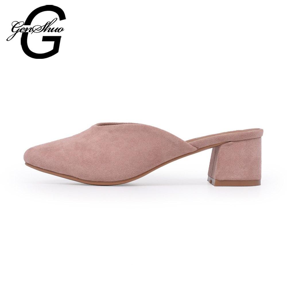 Genshuo Tumit Mules Sepatu Wanita 4 Cm Pertengahan Heel Anak Suede Heels 274 Hitam Merah Muda Kuning Sepanjang Ujung Kaki Persegi Kecil Ukuran 34 40 Di Middle