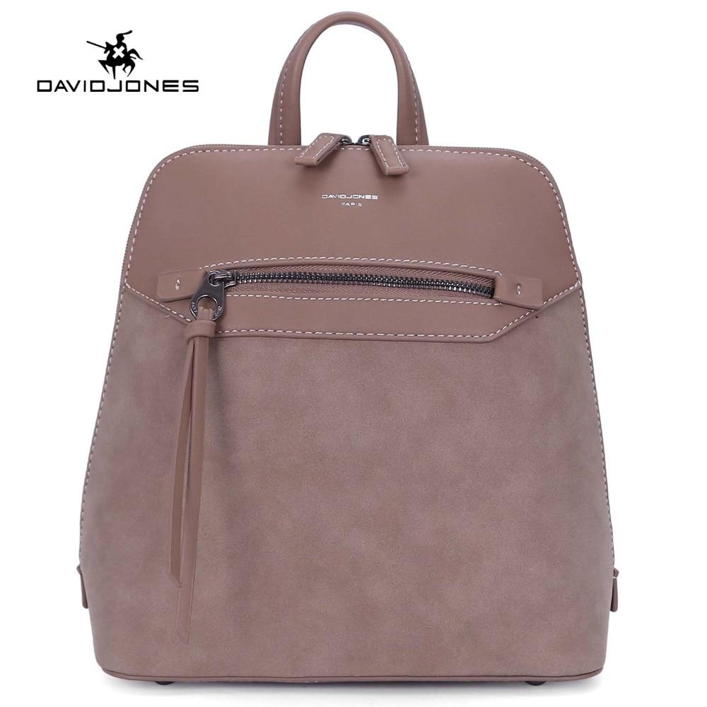DAVIDJONES women backpacks faux leather female shoulder bags small lady patchwork softpack girl brand school bag