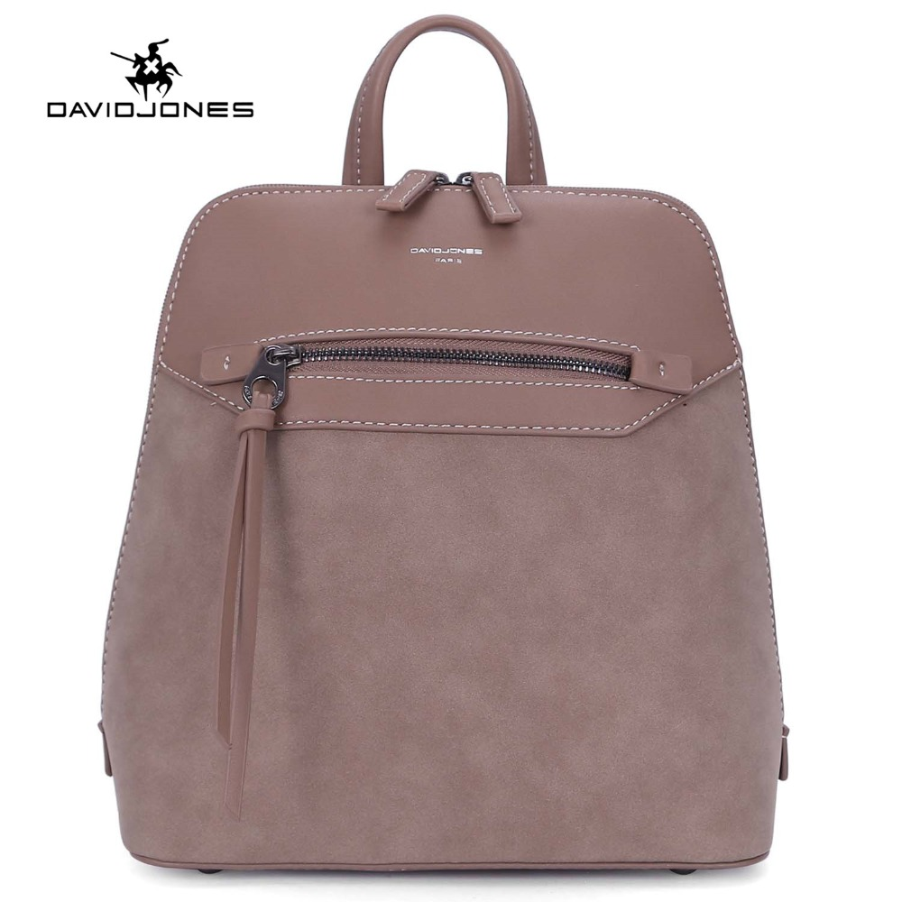 DAVIDJONES women backpacks faux leather female shoulder bags small lady patchwork softpack