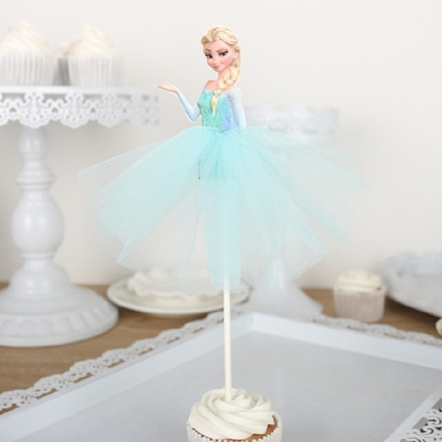 10pcs Snow Queen Elsa Cake Toppers Cupcake Accessory Tutu Table Party Supplies Birthday Decorations