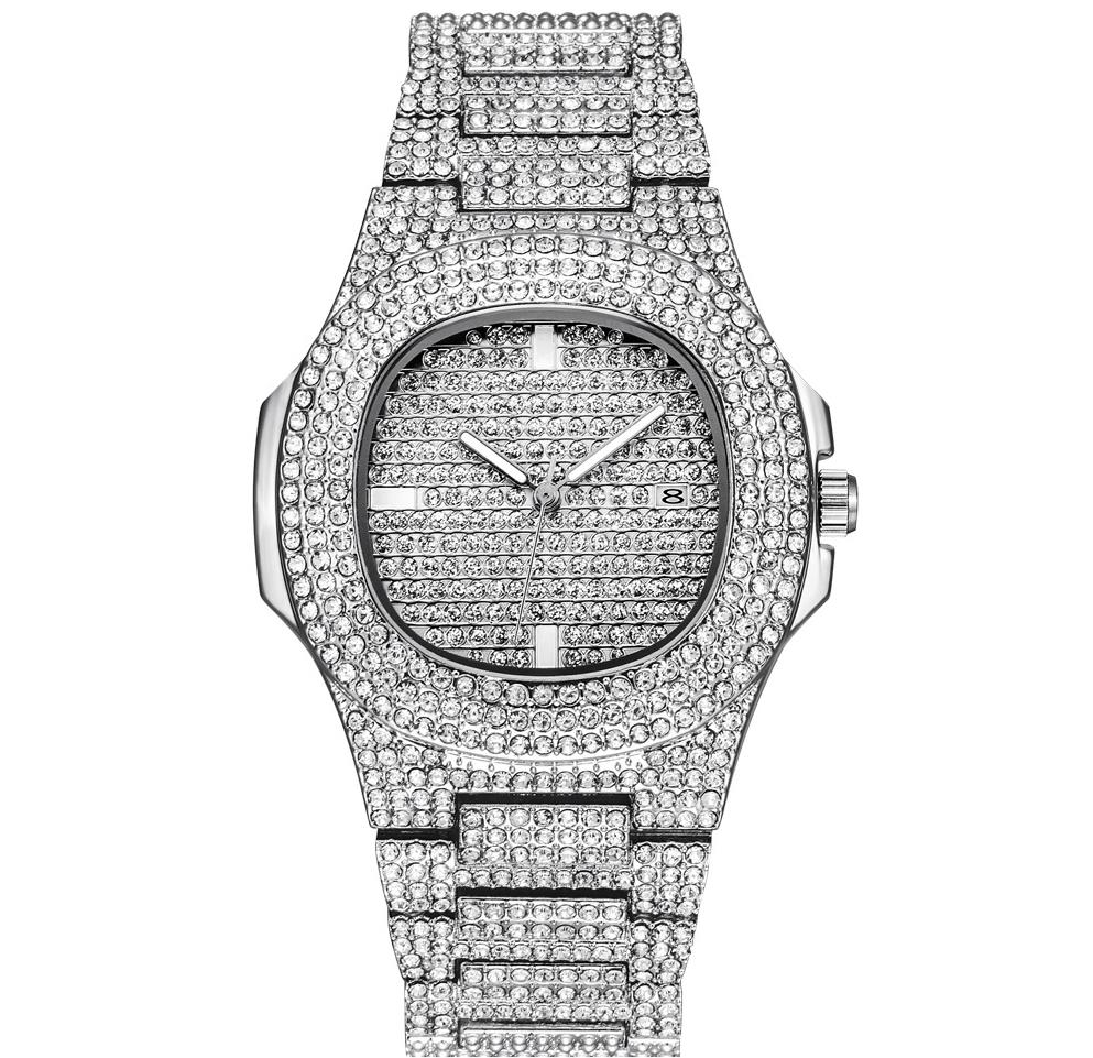 HIP HOP Gold Watch Men Diamond Men Watches Top Brand Luxury Iced Out Male Quartz Watch Calender big dial Gift For Men
