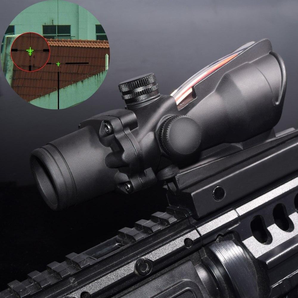 WISPON Chevron aim optical sight Enhanced Edition .308 4X32 ACOG Fiber Source Red&Green Illuminated Scope AR 15 Rifle Scope aim o hunting reddot acog 4x32 optical rifle telescope red green reticle with mount 1 set ao5318
