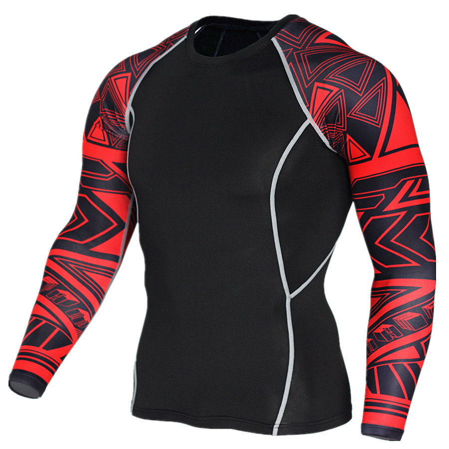 2017 Newest 3D Print Long Sleeve T Shirt Fitness Men Bodybuilding
