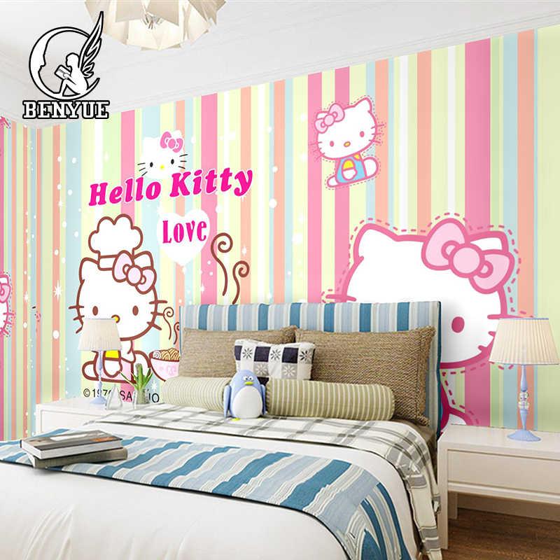 Free shipping Custom size Children's Room hello Kitty cartoon wallpaper  mural Waterproof girl boy wall paper for kids Bedroom