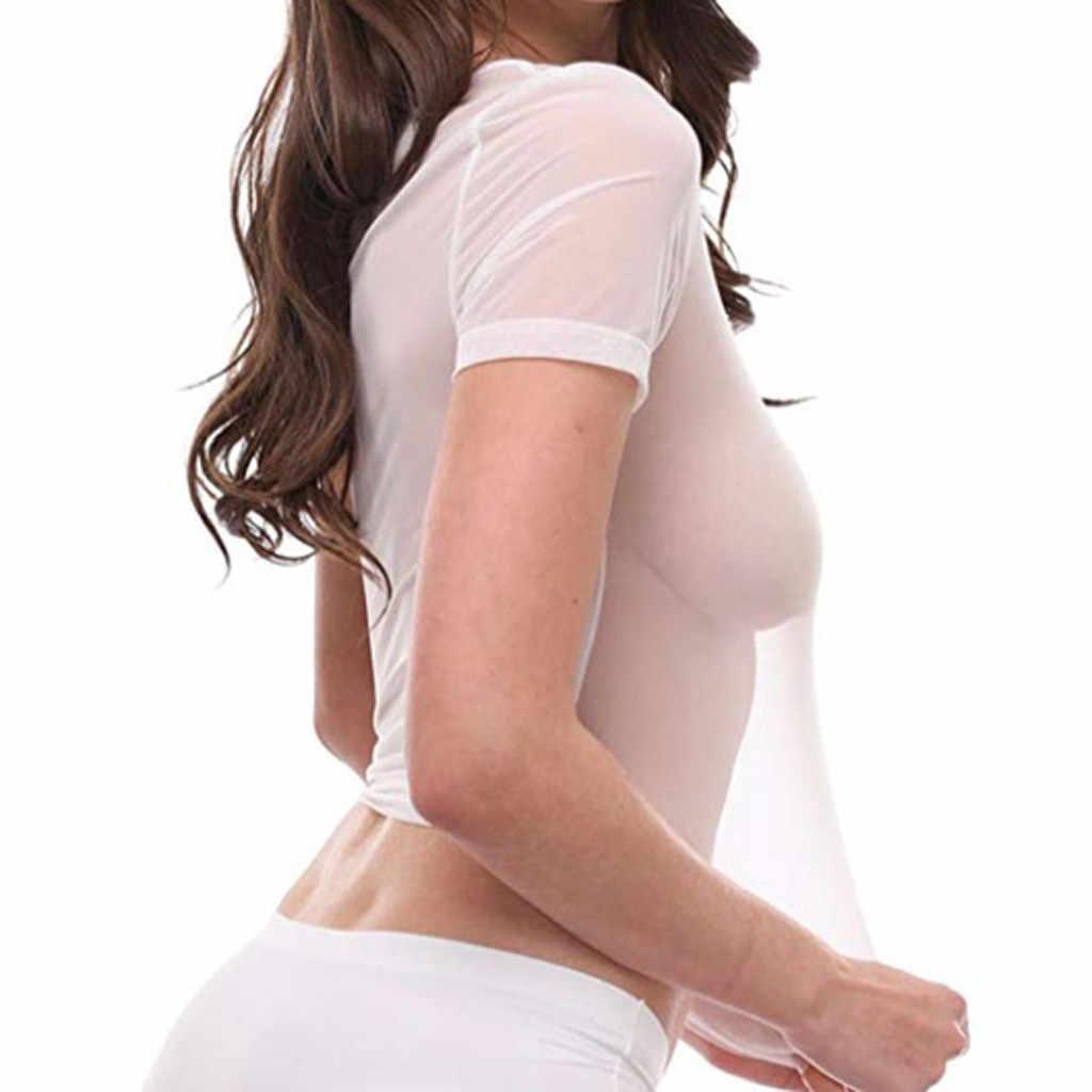 15 # # t camisa feminina pura malha transparente manga curta topos casual t camisa plus size tshirt sexy roupas femininas camisa mujer