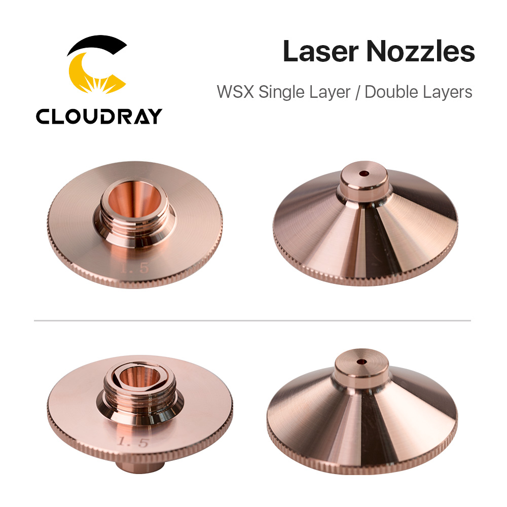 Cloudray WSX Laser Nozzles Single/Double Layers 10pcs/lot Dia.28mm H15 Caliber 0.8-3.0mm For WSX Fiber Laser Cutting Head