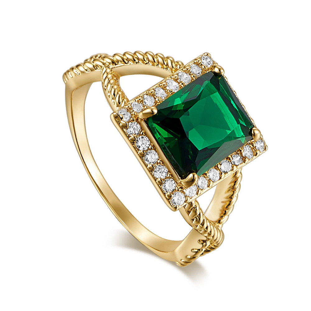 New Chic Green White Crystal Vintage Cubic Zirconia Gold Color silver wedding Ring set With Stones