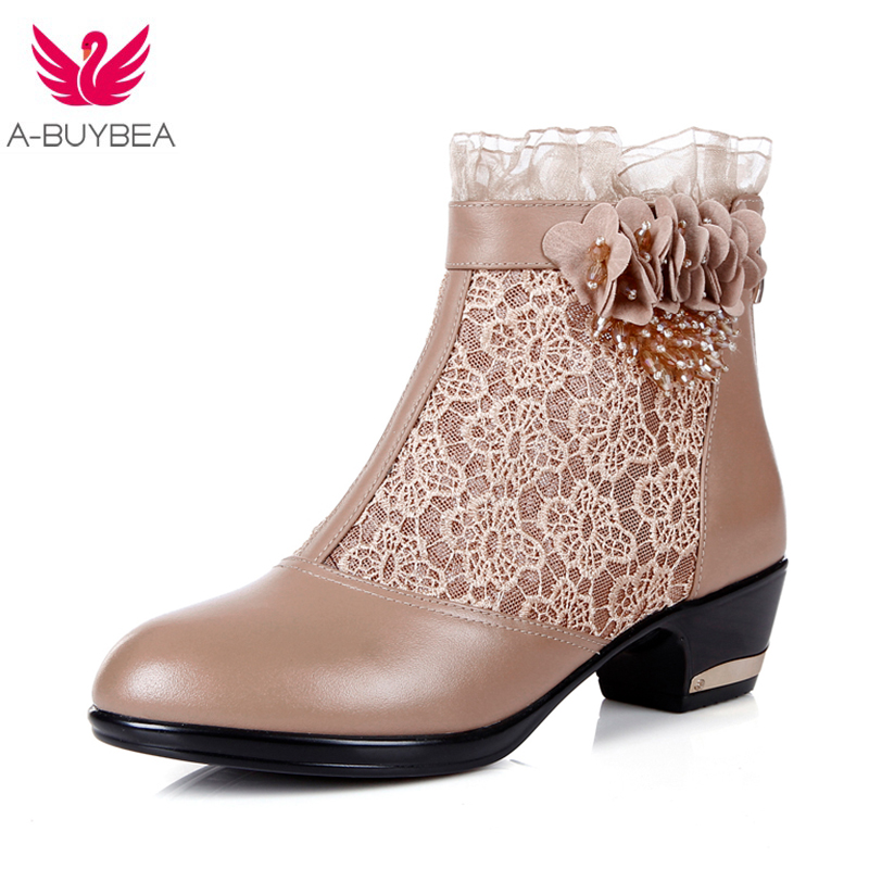 Womens Boots Spring/Autumn 2018 New Fashion Lace Hollow Out Ladies Shoes Woman Leather Sexy Ankle Boots For Women Botas Mujer