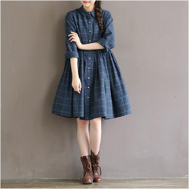 2016 nova primavera outono casual solta cintura plaid dress algodão plus size s-2xl mulheres roupas mori menina feminino princesa dress Robe