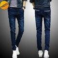 Новые Прибытия 2017 весна осень мужские джинсы ноги брюки упругие бедра-хоп подросток ноги карандаш брюки Slim fit тощие джинсы мужчины ГОРЯЧАЯ