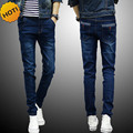 2017 Chegam novas primavera outono dos homens calças de brim pé calças hip elástica hop adolescente perna calças lápis Slim fit skinny jeans homens QUENTES