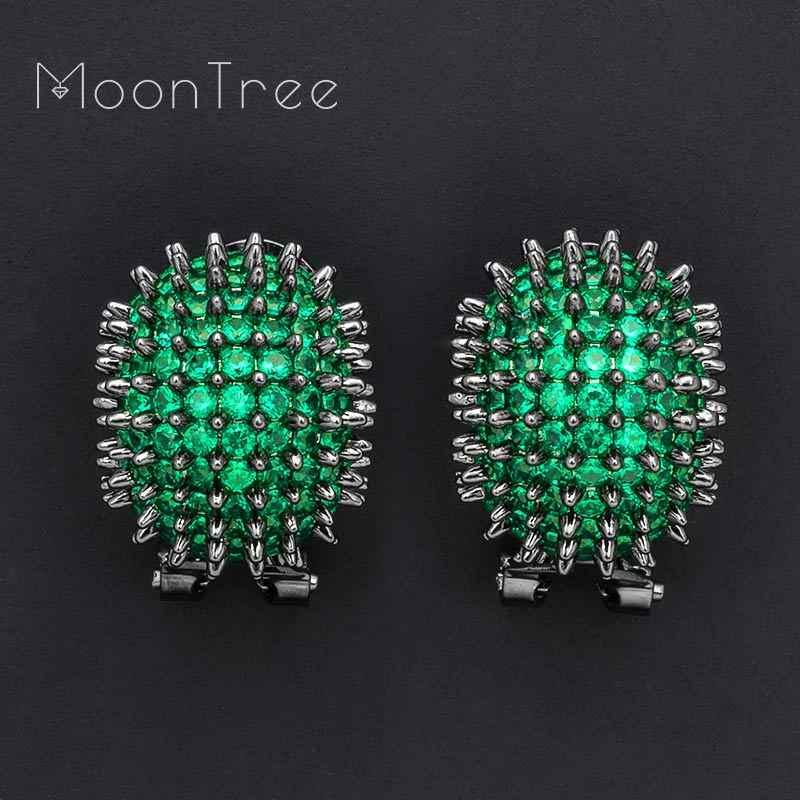 MoonTree 16 мм Морской урчин дизайн зеленый полный Mirco кубический цирконий для невесты свадебные женские серьги с кисточками модные украшения