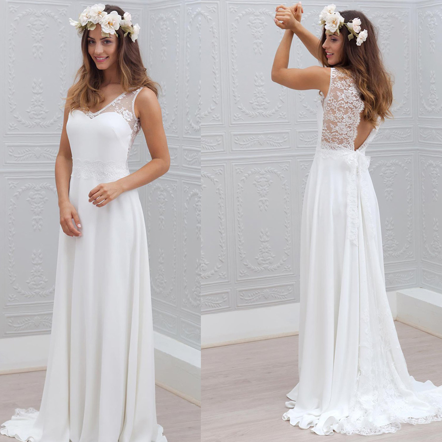 Soft Chiffon V-neck A-line Wedding Dress With Lace Back Bow Belt Sweep Train Sleeveless Bridal Dress Elegant Vestido De Novia