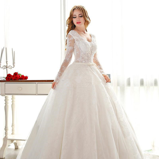 Elegant vintage princess wedding dresses lace long sleeve ...