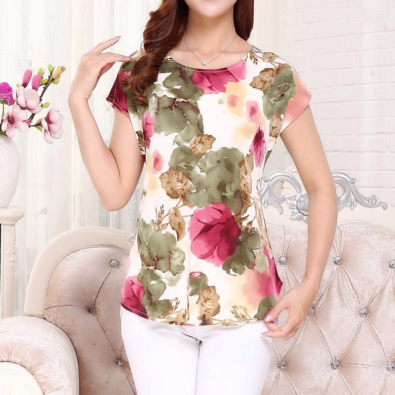 5XL Women Summer Tops Tees Ladies Short T Shirt Women's Boat Anchor T-shirt Silk Female Tshirt Woman Clothes Plus Size