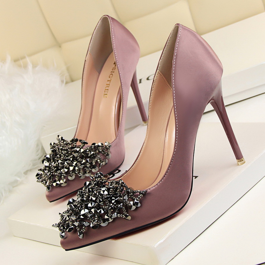 Elegant 2016 Sexy Metal Sequins Flowers High Heels Pumps Pointed Toe Women's Singles Shoes 6 Colour