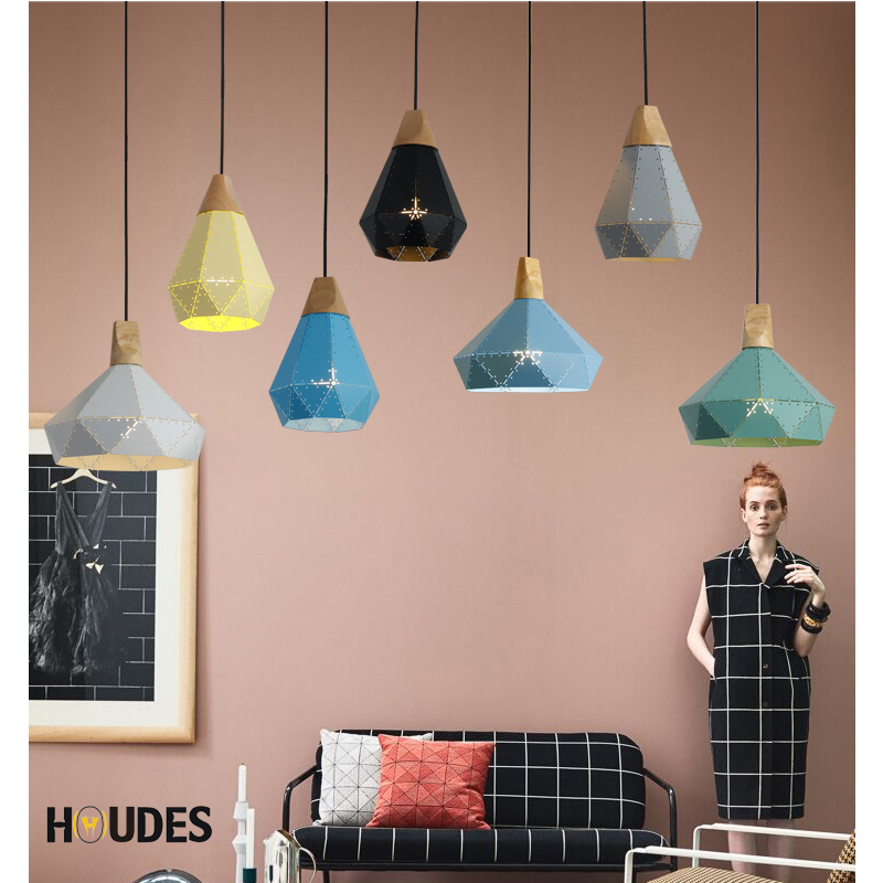 Modern chandelier Lights Iron Minimalist Retro Light Colorful Restaurant Coffee Bedroom Loft Pyramid lamp Metal Cage led free shipping remote control colorful modern minimalist led pyramid light of decoration led night lamp for christmas gifts