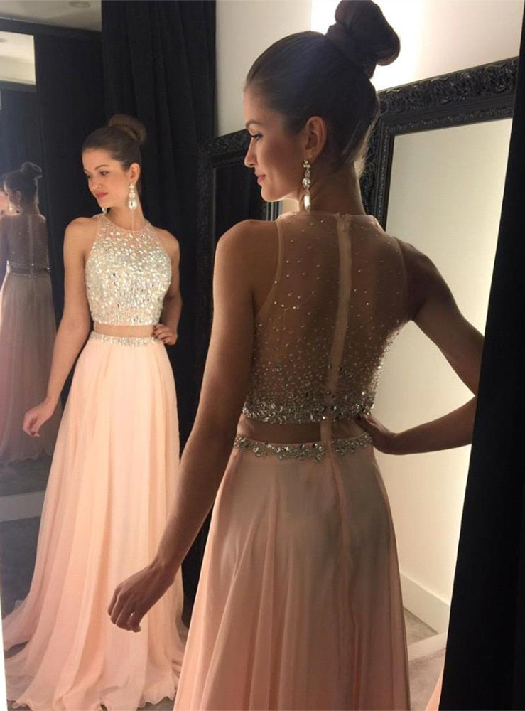 42111afb6 2016 Two Piece Crystal Bead Chiffon Prom Dress Party Pageant Formal Evening  Gown For Women