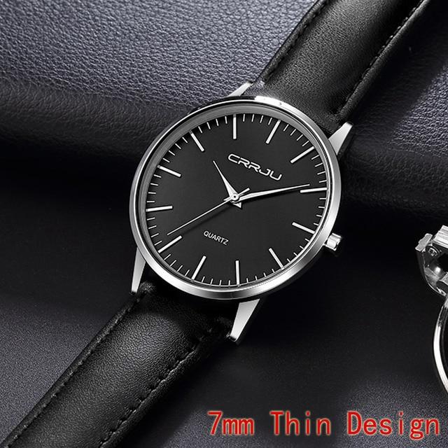 7mm Ultra Thin Men's Watches Top Brand Luxury CRRJU Men Quartz Watch Fashion Cas