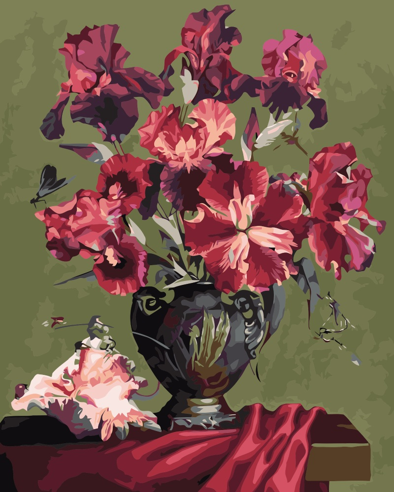 Mahuaf i509 red iris shell still life diy oil painting by numbers mahuaf i509 red iris shell still life diy oil painting by numbers europe decoration flowers art canvas painting for living room in painting calligraphy izmirmasajfo Images