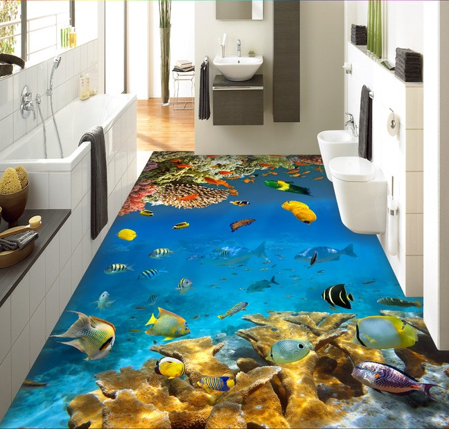 3 d pvc flooring custom wall sticker 3d Reef fish in the sea world 3 d bathroom flooring painting photo wallpaper for walls 3d the woman in the photo