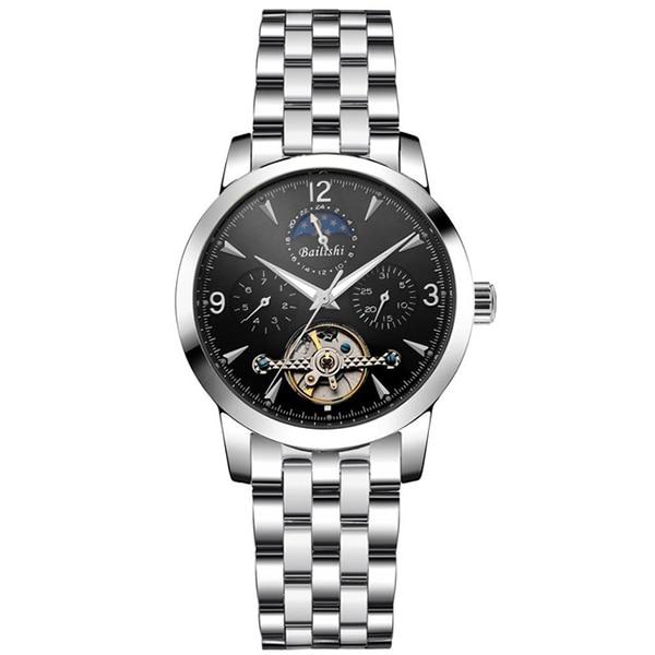 Männer Datumwoche Edelstahl Baolishi Armbanduhr In Mechanische Uhr Berühmte Schwungrad Tourbillon Marke Mann Silve Us74 18baolishi Automatik tdQCxshr