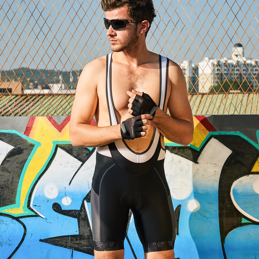 Santic Men Cycling Padded Bib Shorts Pro Fit Summer Italian 4D Pad Road MTB Bicycle Riding