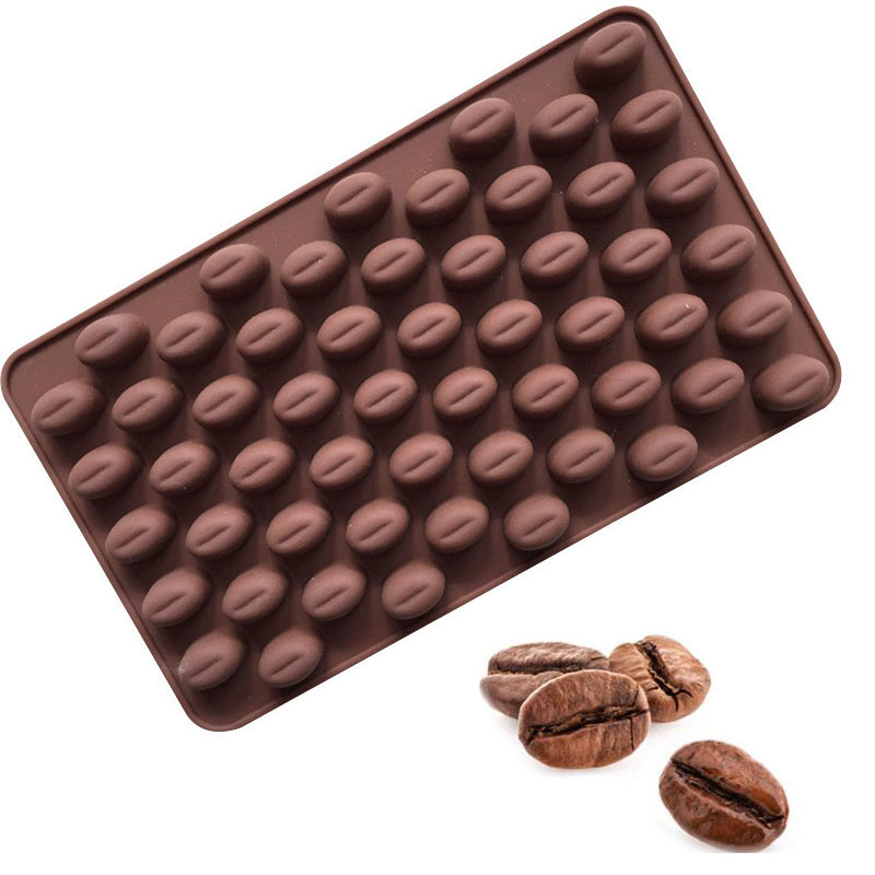 1 Pc High Quality 55 Holes Coffee Bean Chocolate Mold Silicone 3D Coffee Beans Non-Stick Cake Fondant DIY Jelly Ice Baking Mould image