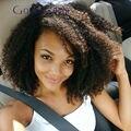 Afro brasileira encaracolado Cheia Do Laço Perucas de Cabelo Humano Kinky Curly Completa Peruca Sem Cola Encaracolado Peruca Dianteira Do Laço Nós Descorados Para Os Negros