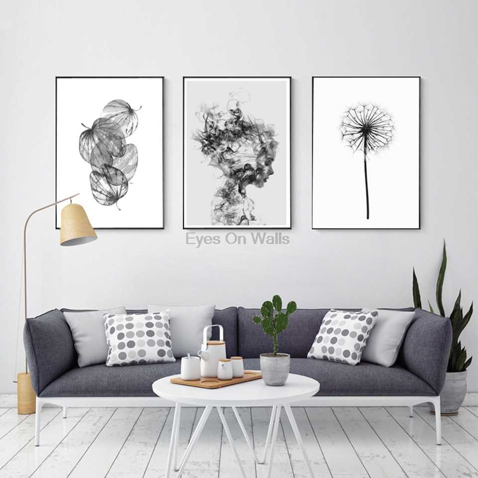 Nordic Abstract Poster And Prints Black White Wall Art Canvas Painting Girl Picture For Living Room Scandinavian Leaf Home Decor Picture For Living Room Posters And Printsabstract Poster Aliexpress