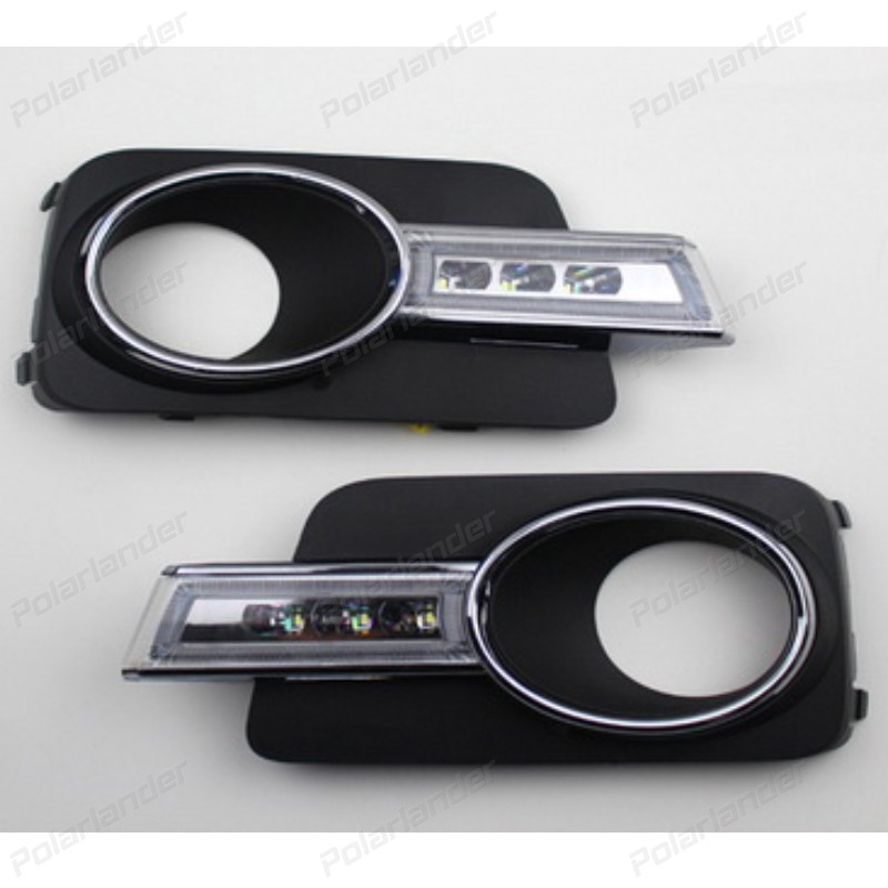 1 set auto part car styling LED Day Driving Lamp Daytime Running Lights DRL For V/olkswagen T/iguan 2010 2011 2012 drl daytime running lights for audi a4 b8 2009 2010 2011 2012 auto led day driving lamp with fog lamp hole free shipping