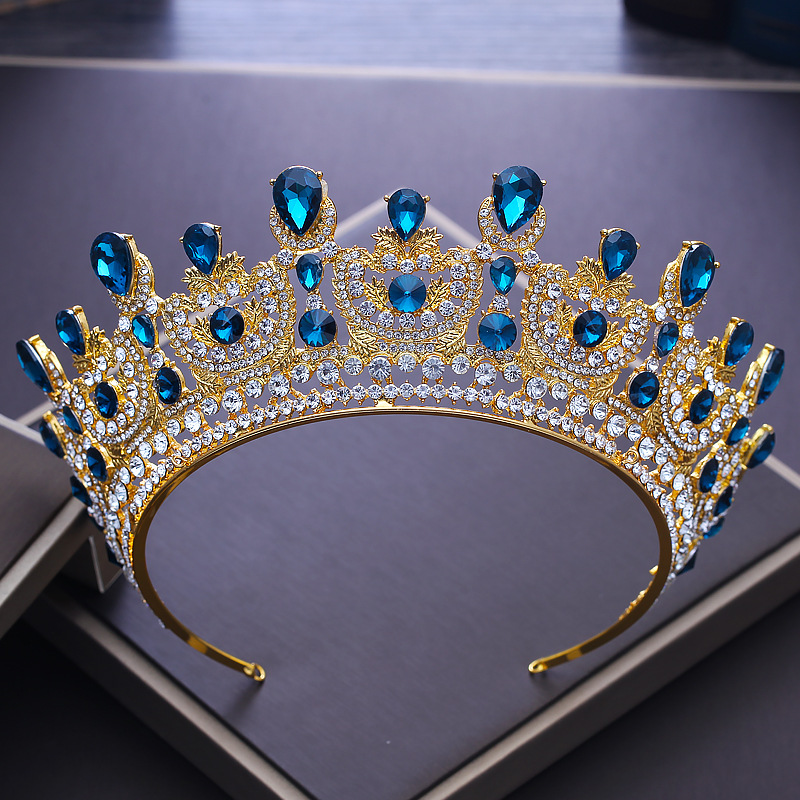 2018 New Baroque Vintage Blue Crystal Gold Crown for Bride Big Tiaras Wedding Hair Ornament Queen Crowns Party Hair Jewelry M623 03 red gold bride wedding hair tiaras ancient chinese empress hat bride hair piece