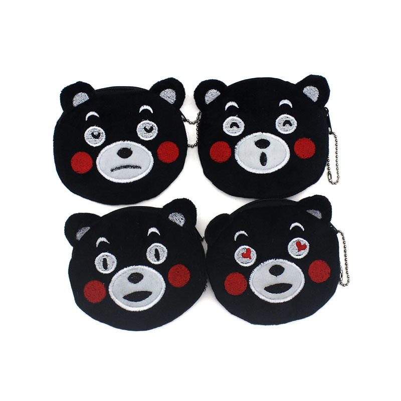 Kawaii Cute Black Bear Children Zipper Coin Purses Women Cartoon Coin Wallets Ladies Makeup Storage Bag Mini Handbag Card Holder hot sale cartoon coin purses children plush mini bags female coin bag women zipper character wallets