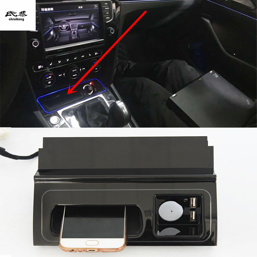 10W QI chargeur de téléphone sans fil de charge rapide plaque de charge panneau support pour téléphone pour 2017-2019 Volkswagen VW PASSAT B8