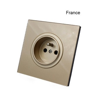 with USB Champagne Gold 1 2 3 4 Gang 1 Way 2 Way Glass Mirror Switch 86 type Wall Switch France Germany UK socket Household 8
